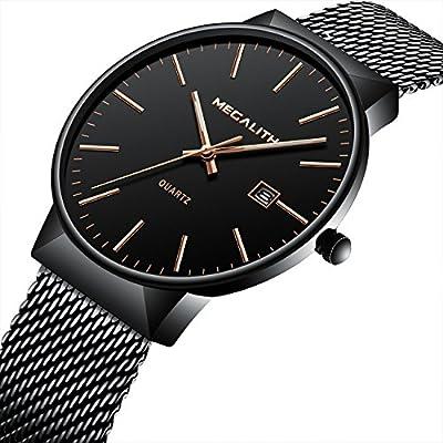 Relojes Hombre Acero Inoxidable Reloj de Pulsera de Lujo Marea Impermeable Fecha Calendario Delgado Analogicos Cuarzo Relojes de Hombre Negro de Malla Negocio Casual Diseño Clásico Simple