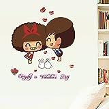 SMNCNL Montage mural élégant couples CartoonSalle mariage décoration murale en verre amovible de l'art, cher
