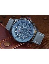 Reloj cronógrafo de cuarzo reloj Curren correa de cuero para hombre gris