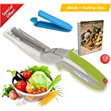 FabQuality Clever Cutter Knife Cutter 6-in-1 Kitchen Tool Slicer Dicer Vegetable Chopper Replacement Knife - Bonus Knife Included + Healthy eating eBook (English)