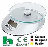 #4: HESLEY Digital Kitchen Multifunction Food Scale 11 Lb 5 Kg With elegant glass platform (Batteries Included)