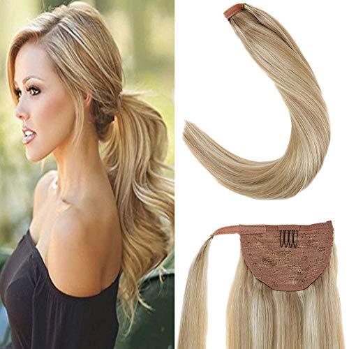 LaaVoo 14Zoll Highlighted Hairpiece Aschblond mit Gebleichtes Blond #P18/613 Clip on Extensions Echthaar Ponytail mit Clips Unsichtbar 80Gramm/Paket