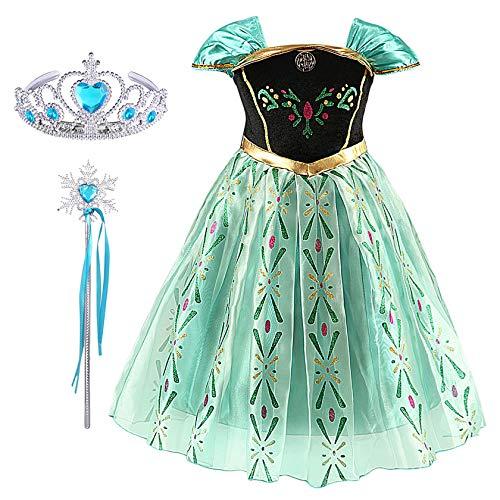 FStory&Winyee Prinzessin Kostüm für Karneval Party Kinder Mädchen Anna Kleid Eiskönigin Cosplay Verkleidung Set Diadem Zauberstab Frozen Outfit Grün Halloween Fasching Geburtstag