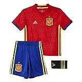 Adidas Fef H SMU Mini Completo Maglia e Short Nazionale Calcio della Spagna Home Replica 2016-2017 per Bambini, Rosso/Giallo/Blu (Escarl/Amabri), 110