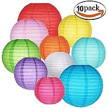 GoFriend - Pack de 10 lámparas redondas de papel tipo globo para colgar, colores y tamaños aleatorios