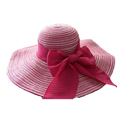 Femmes Filles Mode Été Plage Décoration De Nœud Papillon Bord Large Lin Chapeau De Soleil Rose
