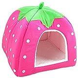 Da.Wa Haustier Haus Supplies Hund Haus Erdbeere Druck Katze Kaninchen Bett Haus Kennel Hündchen Warm Kissen Korb,M