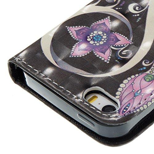 Sunroyal iPhone 6S Plus / iPhone 6 Plus Coque Motif 3D Bling Strass Papillon Jaune Rouge Bleu PU Cuir Flip Housse Étui Cover Case Wallet Luxe Portefeuille Support avec Porte-cartes Etui Housse Pochett Désign 04