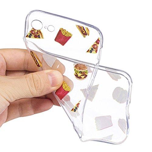 iPhone 7 Custodia Transparente, iPhone 7 Cover Silicone, JAWSEU Super Sottile Crystal Chiaro Custodia per Apple iPhone 7 Bumper Corpeture Case Creativo Disegno Antiurto Anti-scratch Shock-Absorption S Patatine fritte