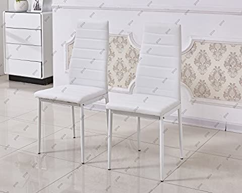 Slim Line Faux Leather Dining Chair High Back Foam Padded Home Kitchen Room Restaurant Furniture (2 Chairs, White)