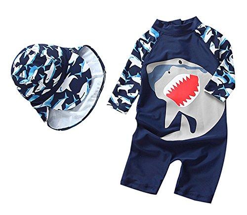 G-Kids Baby Jungen Badeanzug Bademode Einteiler UPF 50+ UV Schützend Langarm Badebekleidung mit Sonnenhut (Dunkenblau, M/85-95cm)