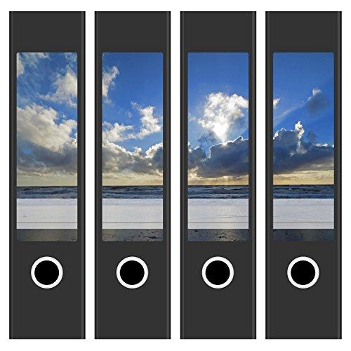 4 Akten-Ordner Etiketten / Aufkleber / Rücken Sticker / mit Design Foto Motiv Motiv Wolken und Meer / für breite Ordner / selbstklebend / 6cm breit