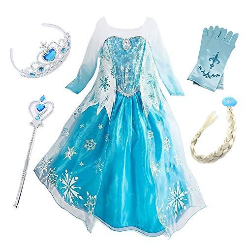 FStory&Winyee Mädchen Eisprinzessin ELSA Schneeflocke Kostüm Kinder Langarm Blau Kleid Weihnachten Karneval Verkleidung Party Halloween Fest