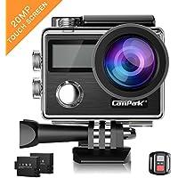 Caméra Sport, Campark X20 Action Cam 4K Ultra HD WIFI Écran tactile 20MP Caméscope Étanche 30M 170 °Grand-angle avec Télécommande, EIS, 2 1050mAh Batteries et Accessoires