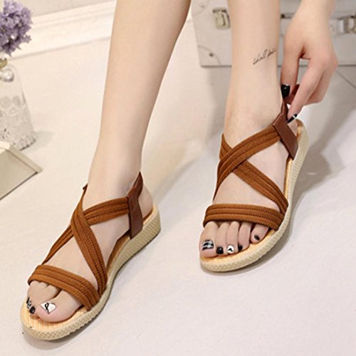 Scarpe della Boemia delle donne piatte Vovotrade Elasticità per il tempo libero Lady sandali peep-toe scarpe da esterno Marrone