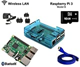 Raspberry Pi 3 1GB RAM 1.2GHz 64-bit quad-core 16GB CLASS 10 Kodi OpenELEC Media Center Kit Dernières (Bleu) (Blue)