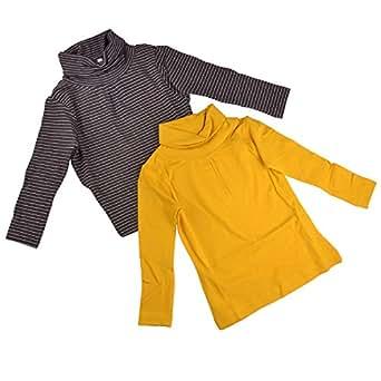 Bio Kid Girls Winter T-Shirt Butter High Neck T-Shirt - 2 Pcs Set Pack (6 - 7 Years)