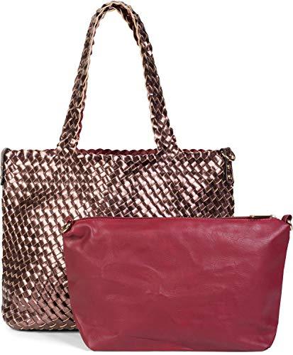 styleBREAKER XXL Wendetasche in Flecht-Optik, Shopper Tasche, 2 Taschen, Handtaschen Set, Bag in Bag, Schultertasche, Damen 02012163, Farbe:Kupfer/Bordeaux-Rot -