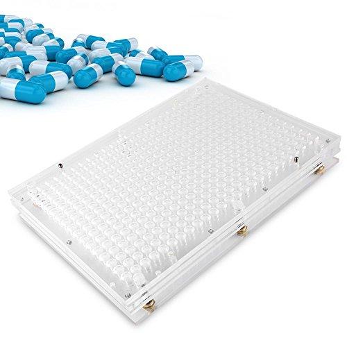 Filfeel Máquina manual de llenado de cápsulas, placas de cápsulas vacías con esparcidor de polvo, cápsulas, herramienta de llenado(0#)