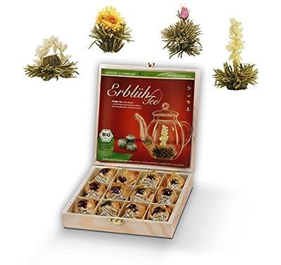 Mix de fleurs de thé blanc Biologique de Creano, coffret Cadeau dans le thé boîte en bois – 12 fleurs de thé en 4 différentes variantes