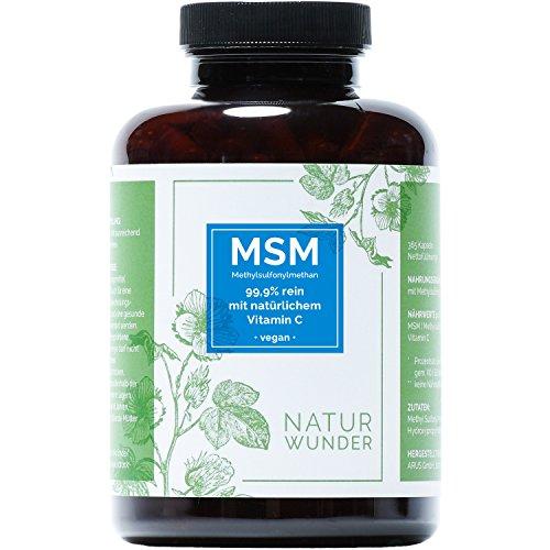 MSM - Methylsulfonylmethan von NATUR WUNDER | 99.9% rein mit natürlichem Vitamin C | 365 Kapseln | 6 Monatsvorrat | 1400mg MSM pro Tagesdosis | Vegan und hochdosiert | Premiumqualität | Hergestellt in Deutschland