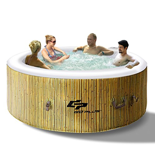 COSTWAY Whirlpool Massage Spa Pool √aufblasbar √Heizfunktion √4 Personen √in-Outdoor √Komplettset √Ø180cm √Rund