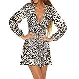 HuaMore Frauen Kleid Leopard Print Sexy Wrap Kleider V-Ausschnitt Langarm Party Club Mini Tee