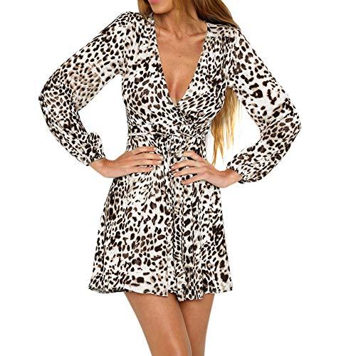 HEETEY Damen Sommerkleid Frauen Leopard Print Wickelkleid V-Ausschnitt Lange Ärmel Party Club Mini-Teekleid Kleid mit Leopardenmuster und Minirock