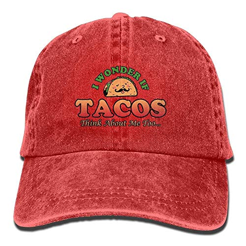 Unisex Washed I Wonder If Tacos Think About Me Too Retro Denim Baseball Cap Adjustable Travel Hat