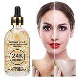 24K Aceite de Esencia de Oro Hidratante, 100ml Suero de Blanqueamiento de Facial, Diurno y Nocturno, Para Estiramiento de la piel y Diluir las líneas finas y Diluir la acné