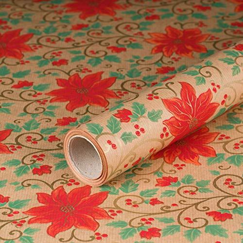 Geschenkpapier Weihnachtsstern, Kraftpapier, gerippt, 60 g/m², Geburtstagspapier, Weihnachtspapier - 1 Rolle 0,7 x 10 m