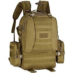 Huntvp Mochila de Asalto Estilo Militar Táctical MOLLE Sistema 3 Vías de llevar Gran Bolsa de Nylon Impermeable 40L Para Las Actividades Aire Libre Senderismo Caza Viajar Color Marrón