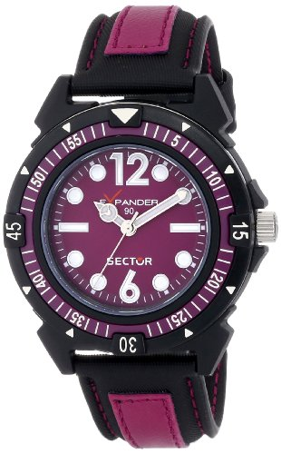 Sector Women's Quartz Watch with Purple Dial Analogue Display and Black Rubber Strap R3251197001