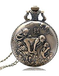 Newest Pocket Watch, Chinese Zodiac Bronze Monkey Pattern Quartz Pocket Watch for Men, Necklace Pocket Watch Gift Christmas Gift