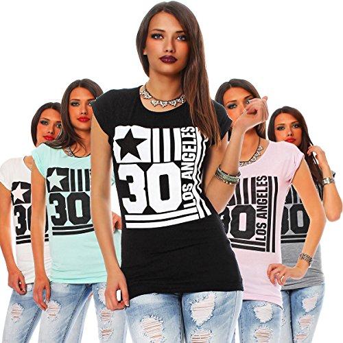 10530 Fashion4Young Damen Kurzarm T-Shirt mit Motiv Tank Top Shirt Tunika 5 Farben 2 Größen Weiß