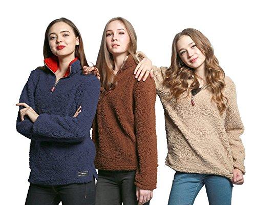 Minetom Femme Automne Hiver Basique Sweat-shirt Veste Polaire Zippé Sweatshirt Chaud Manteau Gris Foncé