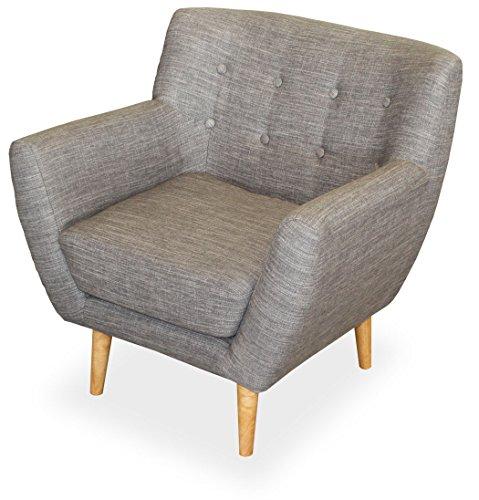 KMH, Gemütlicher Sessel Usedom mit grauem Strukturstoff bezogen (#204616)