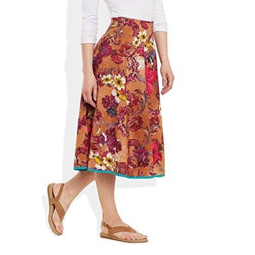 ... Damen Bekleidung Baumwolle gedruckt mittellanger Rock a-Linie Peach ...