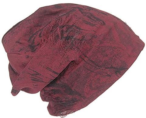 Cool4 Vintage Batik Beanie Schwarz-Rot Slouch Retro Stylisch Mütze Cap Hut VSB29
