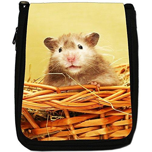 Criceto Medium Nero Borsa In Tela, taglia M Hamster In A Basket