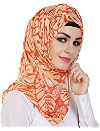 Momin Libas Women's Polyester with Printed Hijab and Scarf(HPC44417, Multicolour, Medium)