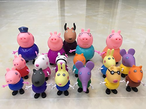 Cute Peppa Pig Figures 17 Pcs Different Model Dolls - El cerdo lindo de Peppa Pig 17 PC Muñecas Modelo Diferentes