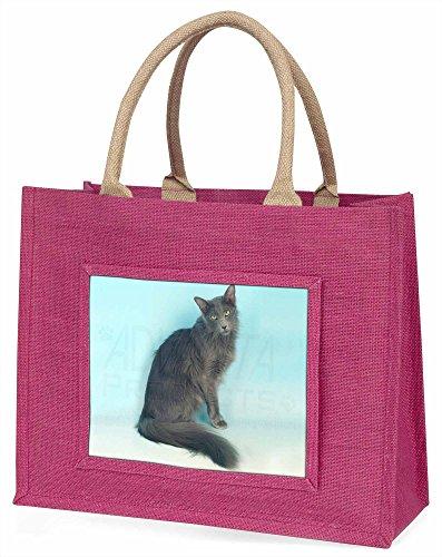 Advanta Silber Grau Javanese-Katze Große Einkaufstasche Weihnachten Geschenk Idee, Jute, Rosa, 42x 34,5x 2cm -