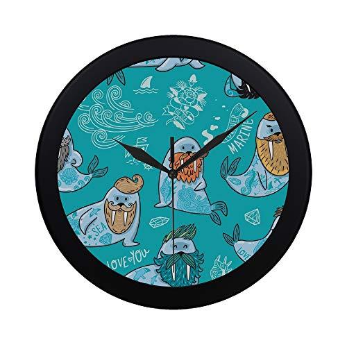 (WOCNEMP Moderne einfache Zeichentrickfilm-Figuren lustige Walross-Wanduhr Innen-Nicht-tickender Stiller Quarz-ruhige Sweep-Bewegungs-Wand-Clcok für Büro, Badezimmer, Wohnzimmer dekorativ 9,65 Zoll)