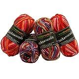 trendmarkt24 Wolle-Set-Mix ✓ Rottöne 4fädig ✓ Woll-Paket insg. 200g ✓ 75% Schurwolle 25% Polyamid ✓ Oeko-Tex Standard100 Ökotex ✓ Socken-Wolle 4fach ✓ Stumpfwolle Strickwolle Mix Sparpaket 602023
