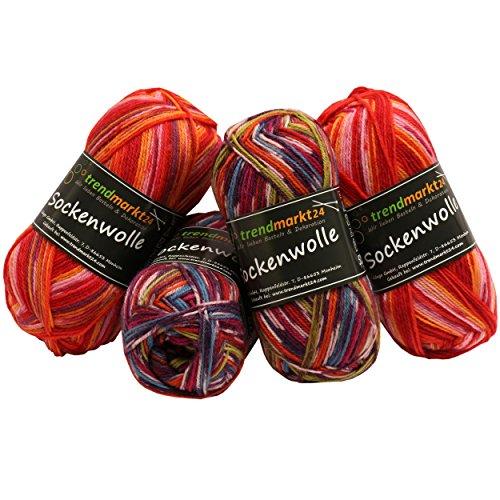 Wolle-Set-Mix ✓ Rottöne 4fädig ✓ Woll-Paket insg. 200g ✓ 75% Schurwolle 25% Polyamid ✓ OEKO-TEX Standard100 Ökotex ✓ Socken-Wolle 4fach ✓ Stumpfwolle Strickwolle Mix Sparpaket | trendmarkt24 602023
