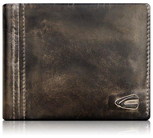 camel active, große Geldbörse aus echtem Leder, hochwertiges Echtleder Portemonnaie für Herren, Geldbeutel (schwarz-braun)