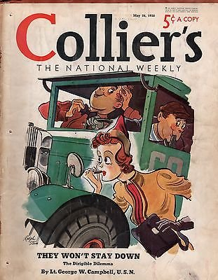 Collier's May 28, 1938 - Volume 101 No. 22. Selznick family of movies; Bobby Riggs Tennis; Dirigibles par ed. William L. Chenery