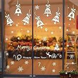 Tebrun 190+ Pegatina Copo de Nieve de la Navidad, Calcomanías de Ventana de Copo de Nieve Pegatinas Avidad Ventana - PVC sin Adhesivo para Ventanas Vidrios Navidad Decoración (Blanco)