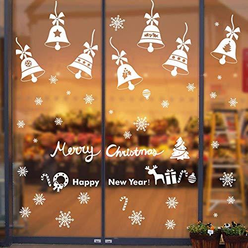 Vetrofanie fiocchi di neve per natale rimovibile fiocco di neve stickers da vetro finestra vetrina natale decorazione fai da te pvc adesivi (190+pz, 5 fogli)